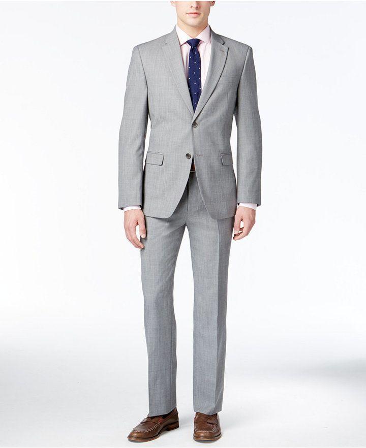 053cfcbb28dd1d Tommy Hilfiger Men's Modern-Fit Light Gray Sharkskin Suit | Products ...