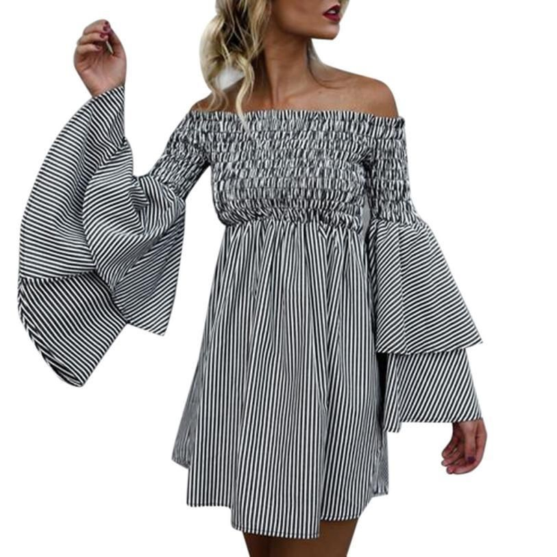 ba1f371717d4 Women Striped Off Shoulder Long Sleeve Mini Dress