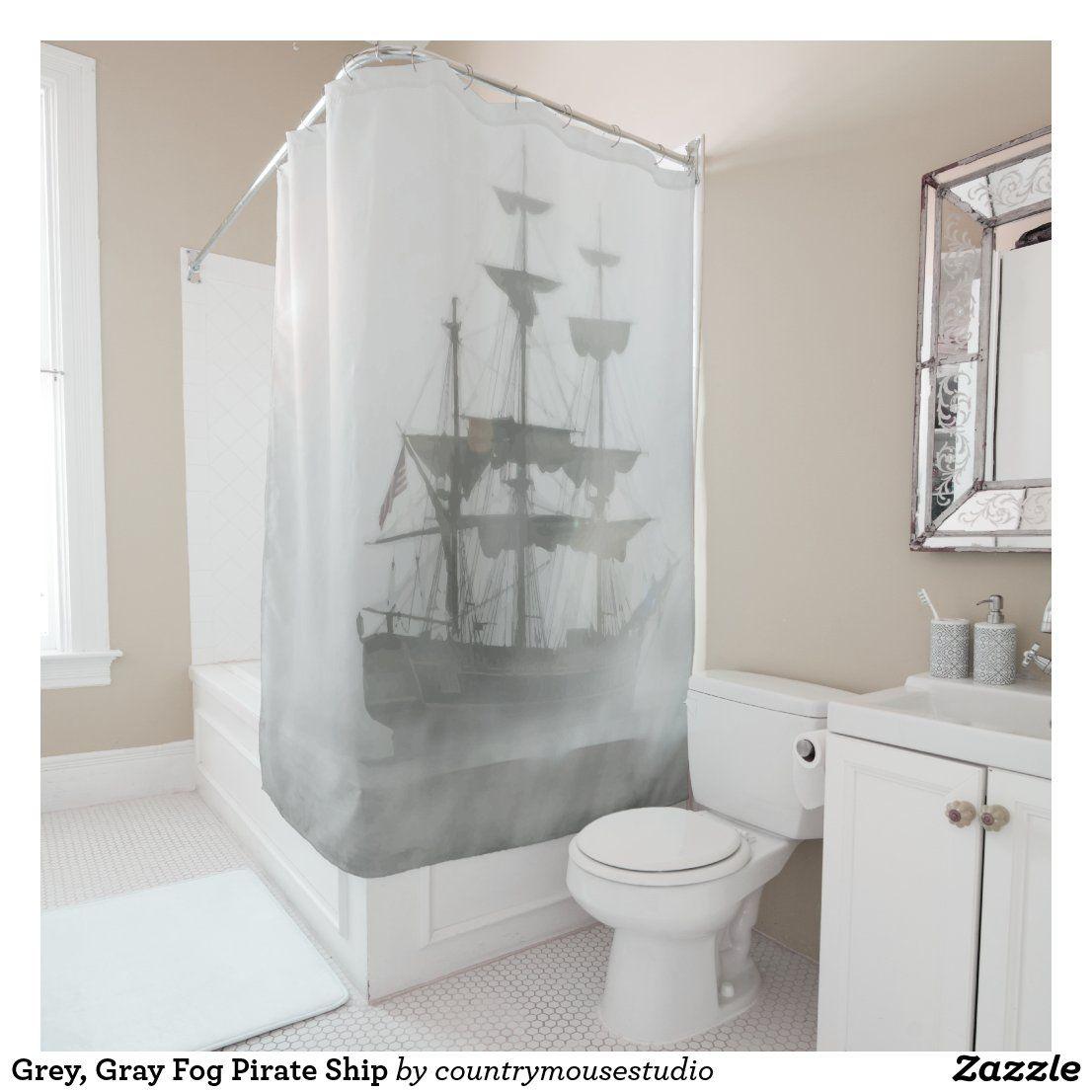 Grey Gray Fog Pirate Ship Shower Curtain Pirate Bathroom Shower Curtain Custom Shower Curtains Pirate ship bathroom decor