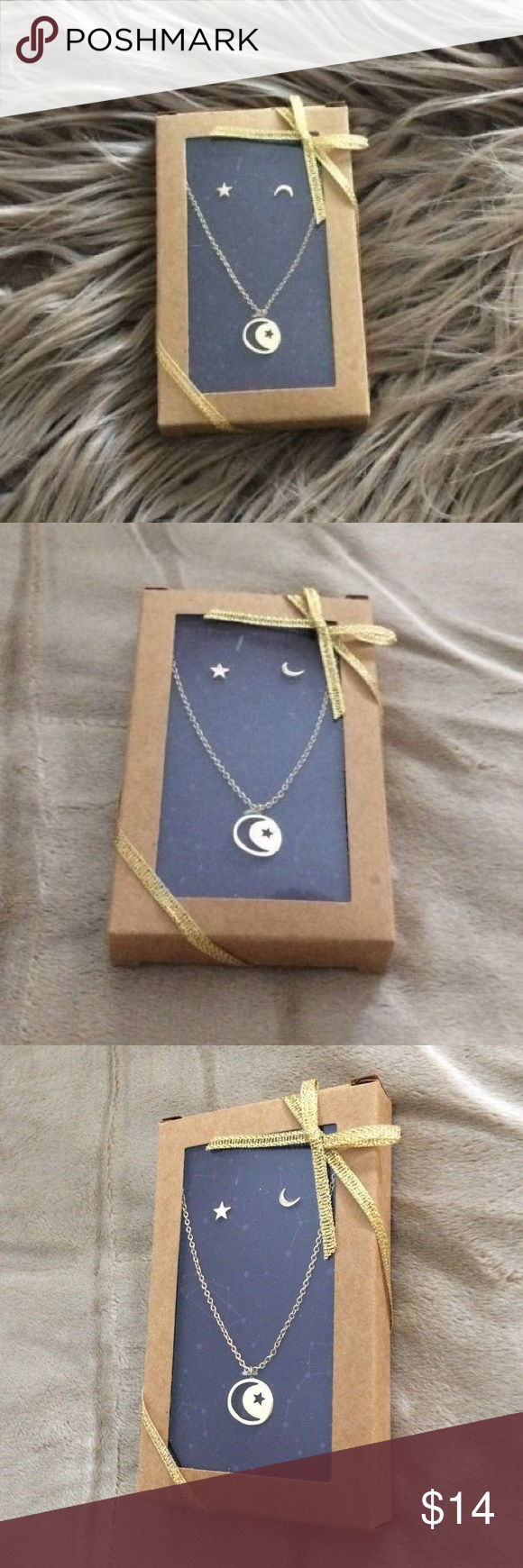 ☀️⬇️💰 Crescent Moon Star Necklace Earring Set NWT   Star ...
