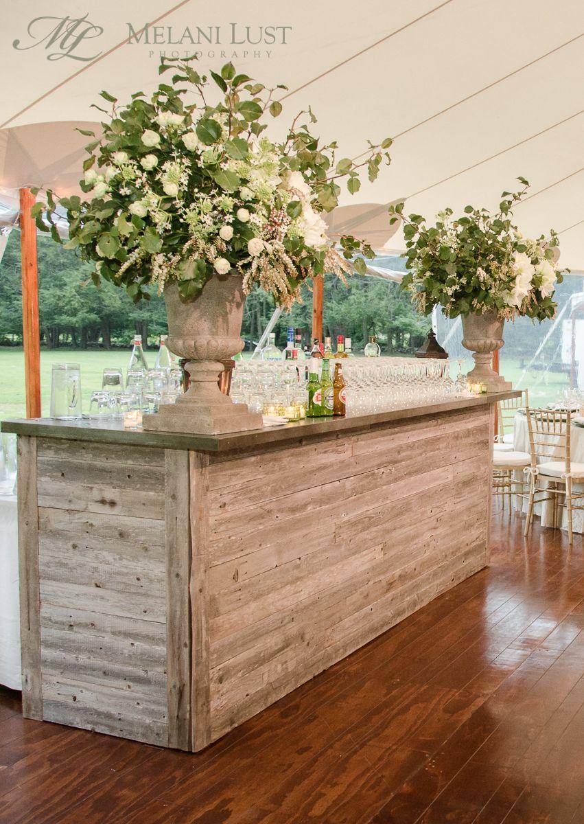 Flower Urn Vintage Oak Bar Cocktail Hour Wedding Ct Flowers By Kd J Botanica C Melanilustphotography Flower Urn Cocktail Hour Wedding Event Bar