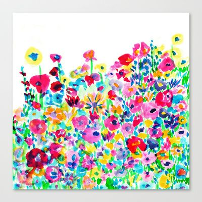 Flower Fields Pink Stretched Canvas by Amy Sia - $85.00