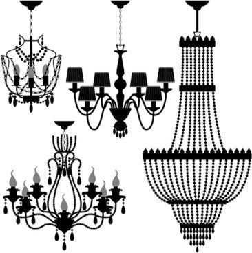 Ornate chandelier vector silhouette set sayde pinterest ornate chandelier vector silhouette set aloadofball Choice Image