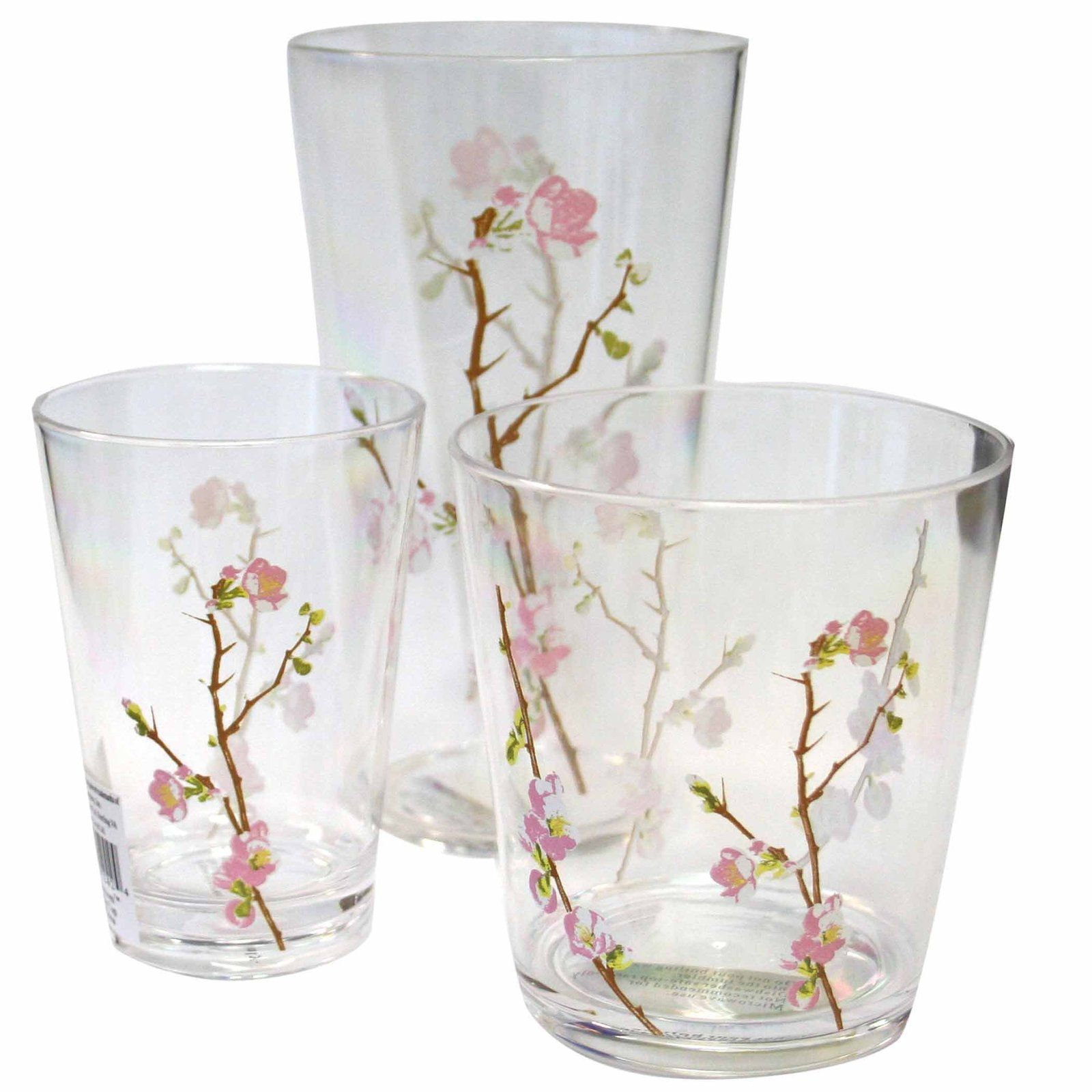 Corelle Coordinates Cherry Blossom Acrylic Glass 8-oz (Set of 6 ...