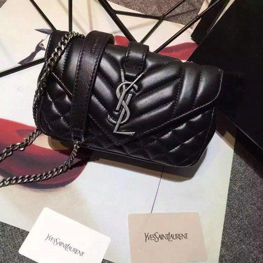 2016 A W Saint Laurent Classic Baby Monogram Chain Bag in Black Leather c65d8327f5706