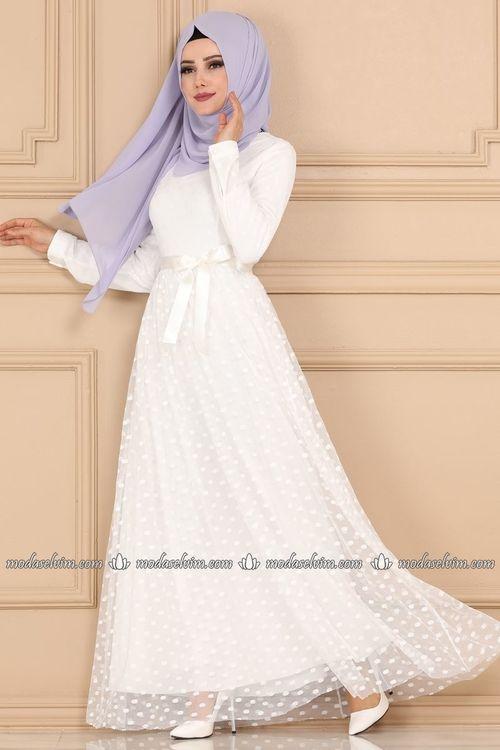 Modaselvim Elbise Puantiyeli Tul Tesettur Elbise 5114ay342 Ekru Elbise Elbiseler Elbise Modelleri