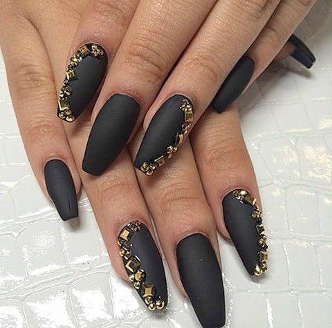 Matte black with gold rhinestones