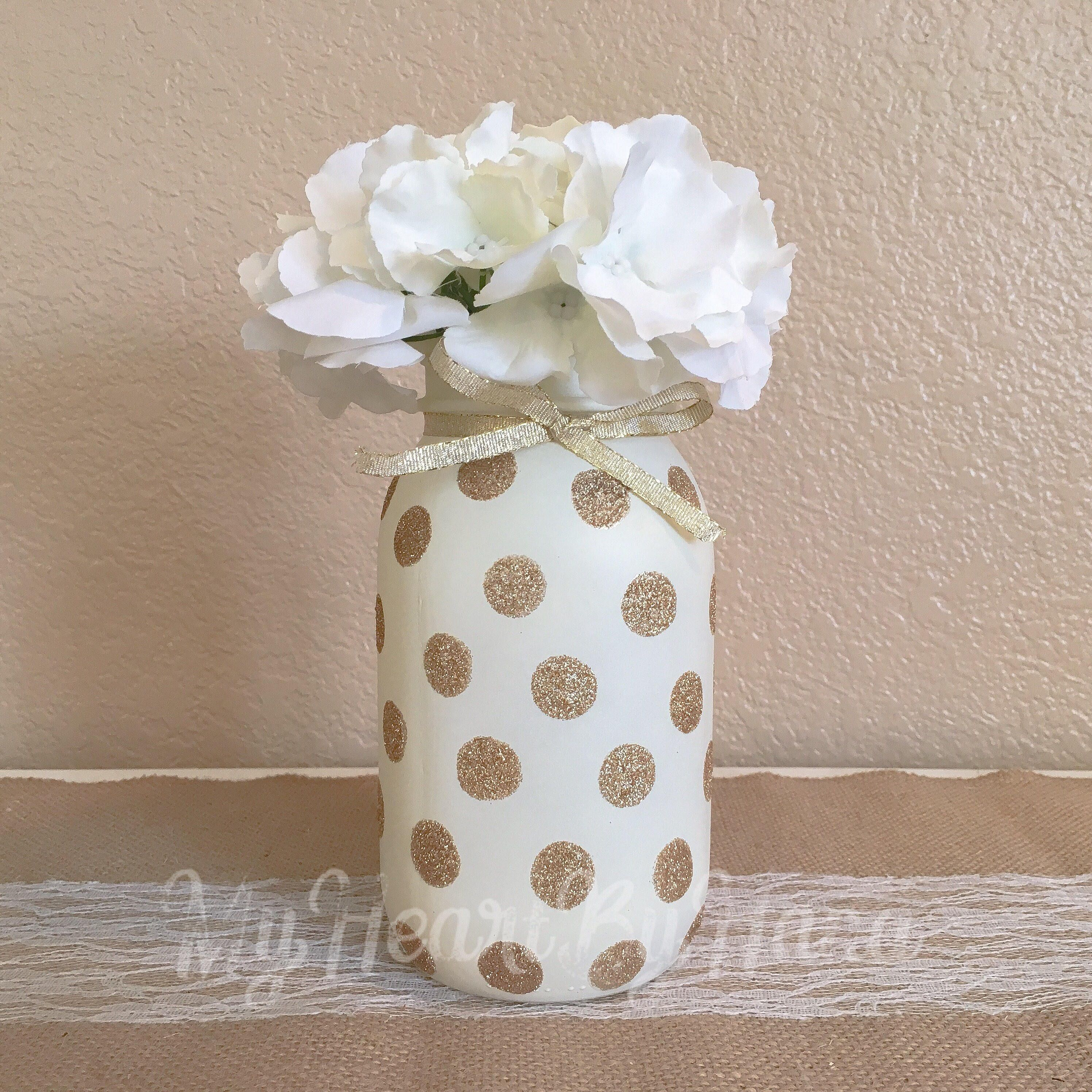 Gold Glitter and Ivory Painted Mason Jar, Wedding Cernterpieces ...