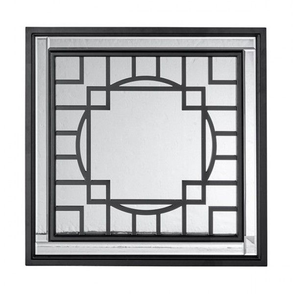 Geometric Wall Mirror geometric black frame square wall mirror (200 cad) ❤ liked on