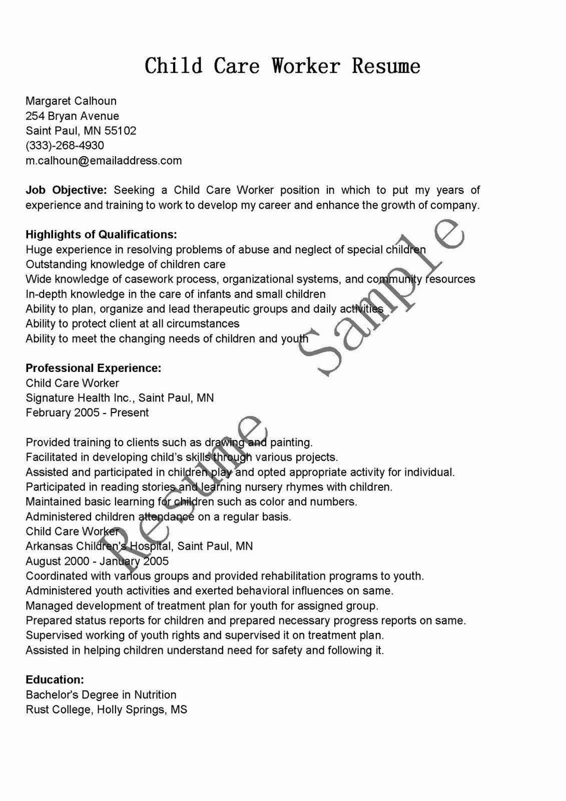 Child Care Worker Resume Fresh Resume Samples Child Care Worker Resume Sample Child Care Worker Job Resume Examples Job Resume Samples