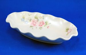 Pfaltzgraff TEA ROSE Fluted Relish Dish 9.25 in. Pink Blue Flowers Stoneware. As always your entire order ships for only $4.99, only at http://www.totallytableware.com/