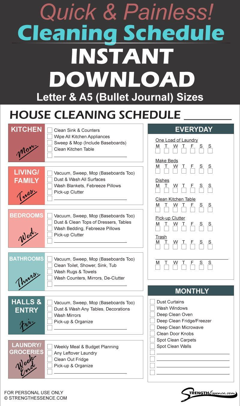 Daily, Weekly, Monthly House Cleaning Schedule Checklist