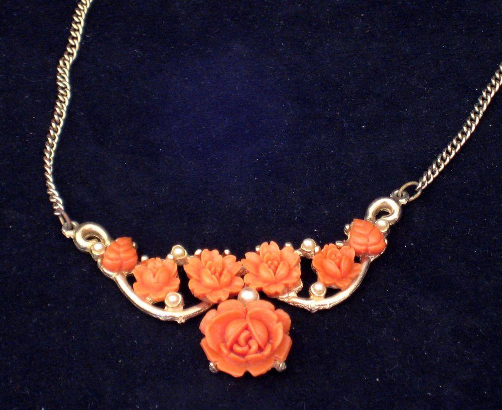 Lovely Vintage Orange Flower Pearl Choker Necklace