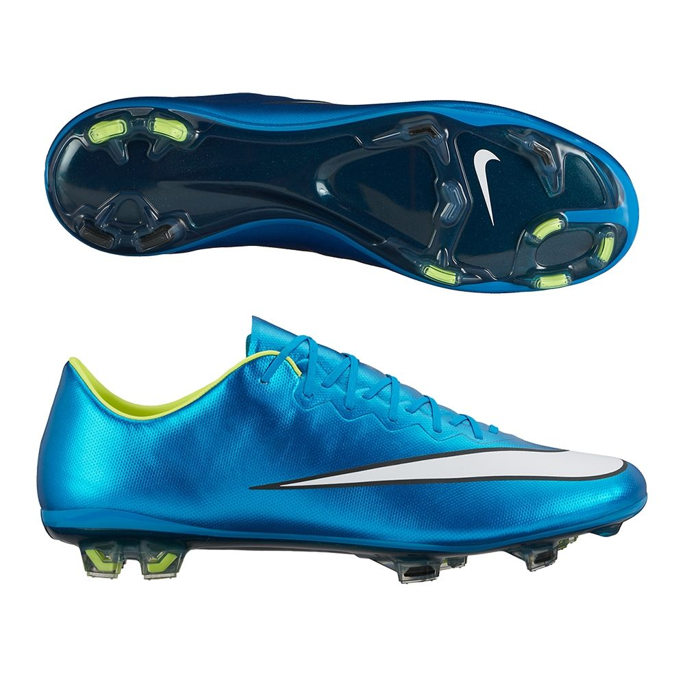 Mercurial Vapor X FG Soccer Cleats (Blue Lagoon/White/Volt/Black)