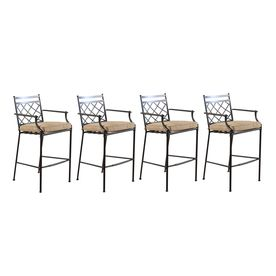 Allen Roth Set Of 4 Safford Aluminum Patio Bar Height Patio Chairs With  Solid Brown