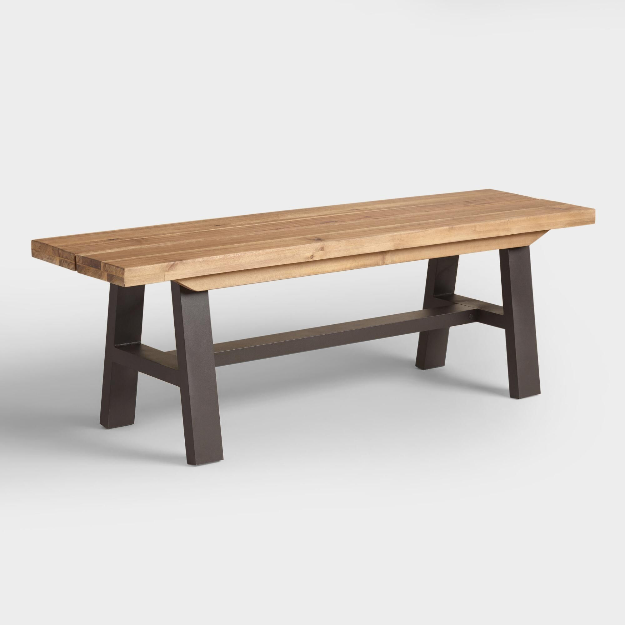 Enjoy Alfresco Meals Gathered On Our Rustic Dining Bench. It Features An  Aluminum A Frame Made To Withstand The Elements And A Distressed Acacia  Wood Seat ...