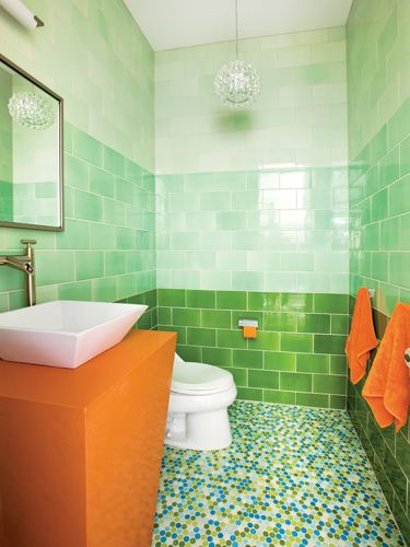 Ombr 233 Green Tile Multi Colored Hex Floor Tile Bathroom