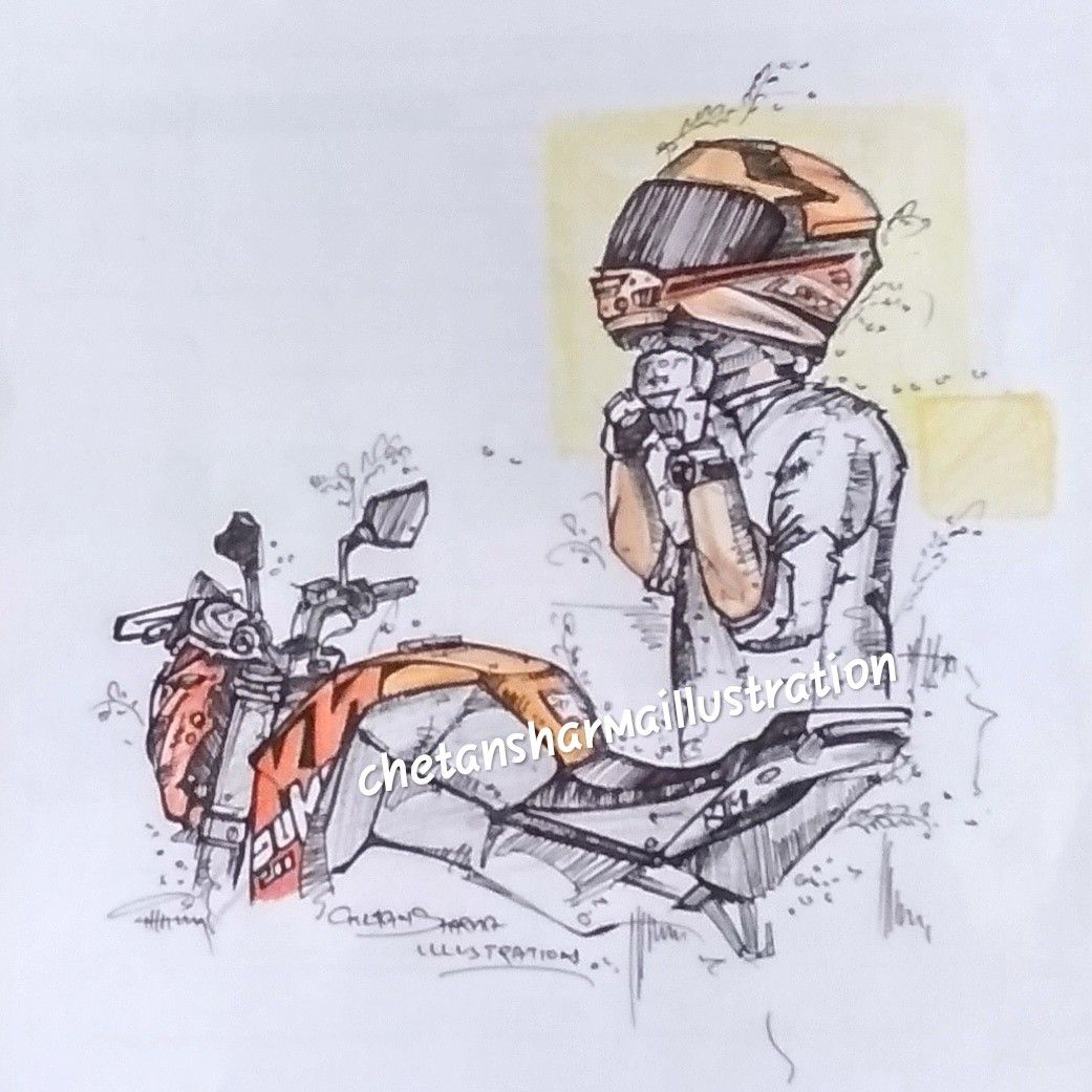 Ktm Rider Sketches Car Sketch Cartoon