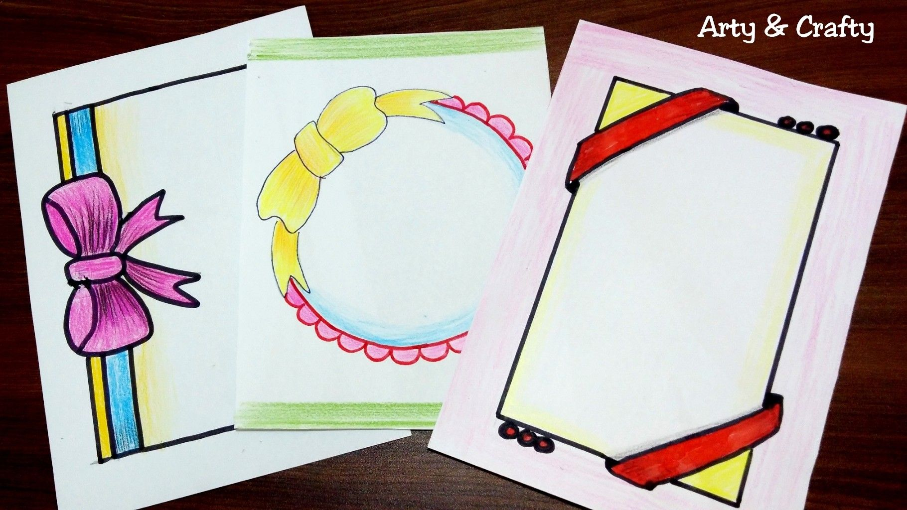 How To Draw Beautiful Border Designs On Paper For Project Work Easy Designs For Project Cute766