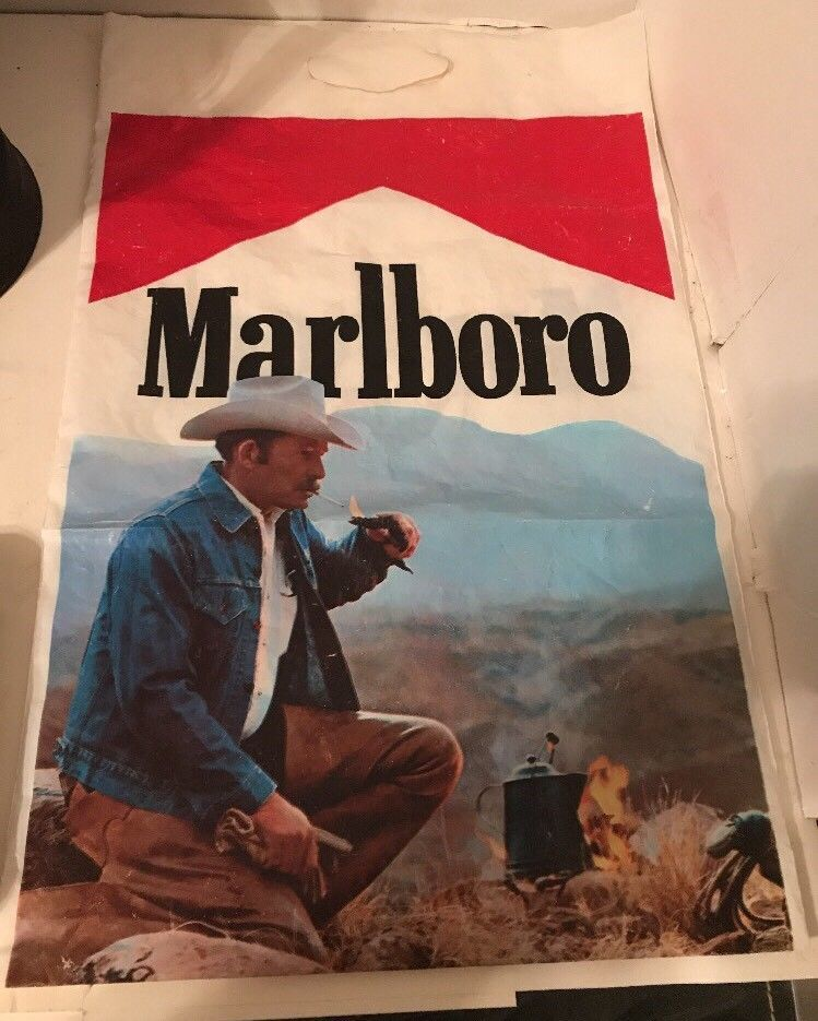 Marlboro Plastic Bag 70's 80's Cowboy Advertising Carrying