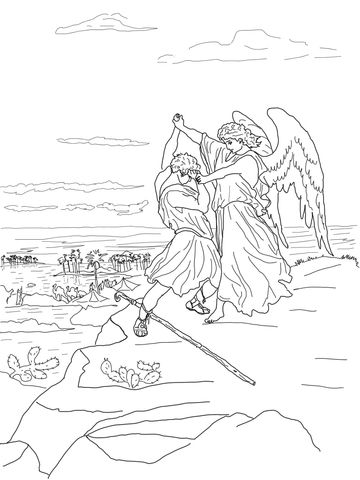 Jacob Wrestles With God Coloring Page From Gustave Dore Category