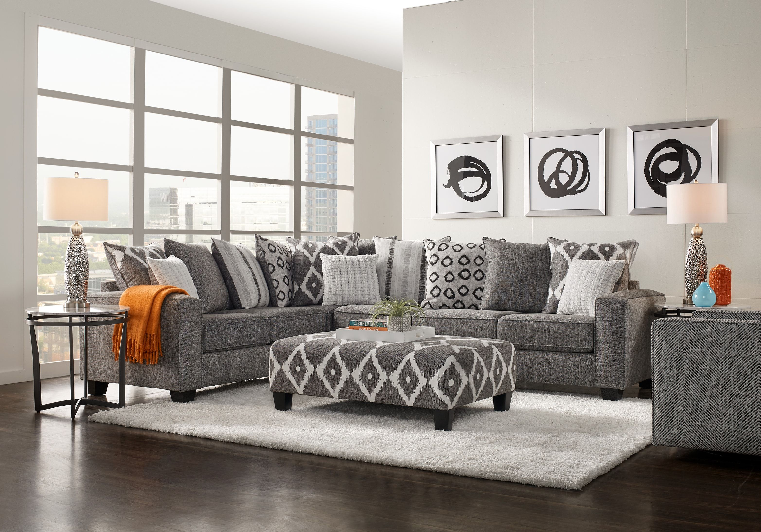 Carole Court Gray 3 Pc Sectional Living Room 1199 99 3pc Set Includes Cocktail Living Room Sets Furniture Sectional Living Room Sets Grey Couch Living Room