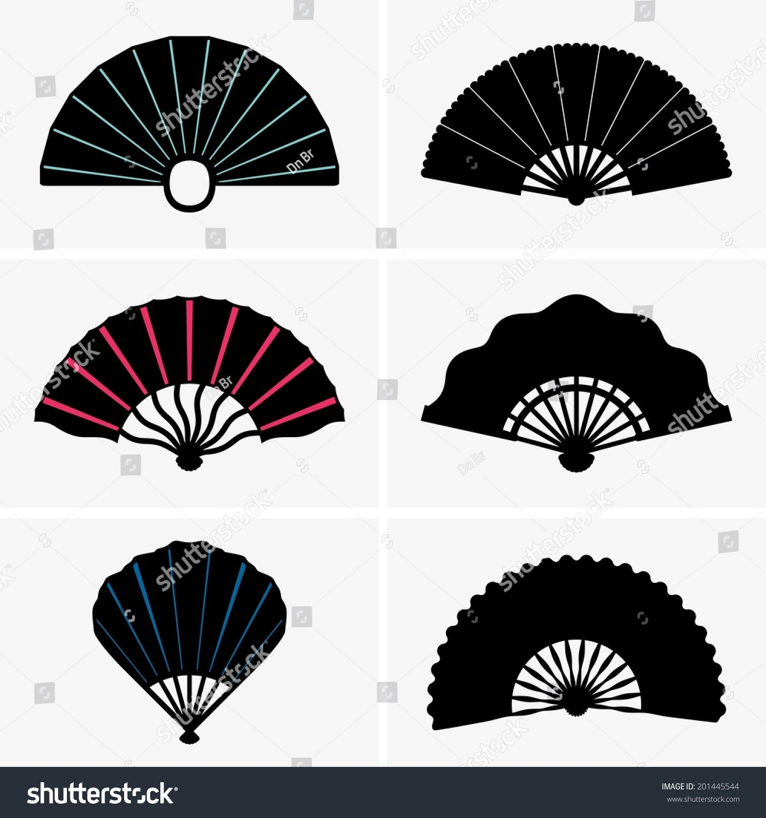 Hand Fans Hand Fan Clipart Black And White Posters Art Prints