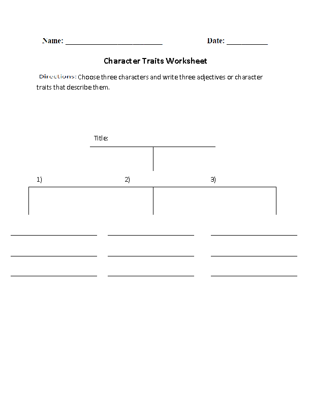 Character Traits Character Analysis Worksheet  Reading Rl