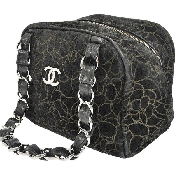 Pre-owned Chanel Camelia Cc Logos Chain Suede Vintage Shoulder Bag (870 CAD) ❤ liked on Polyvore featuring bags, handbags, shoulder bags, black, purse, suede purse, black shoulder bag and chain shoulder bag