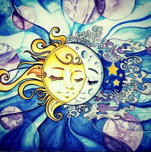 Psychedelic Art Would Be A Cute Tattoo Idea Arte De Luna Pintura De Sol Arte Solar