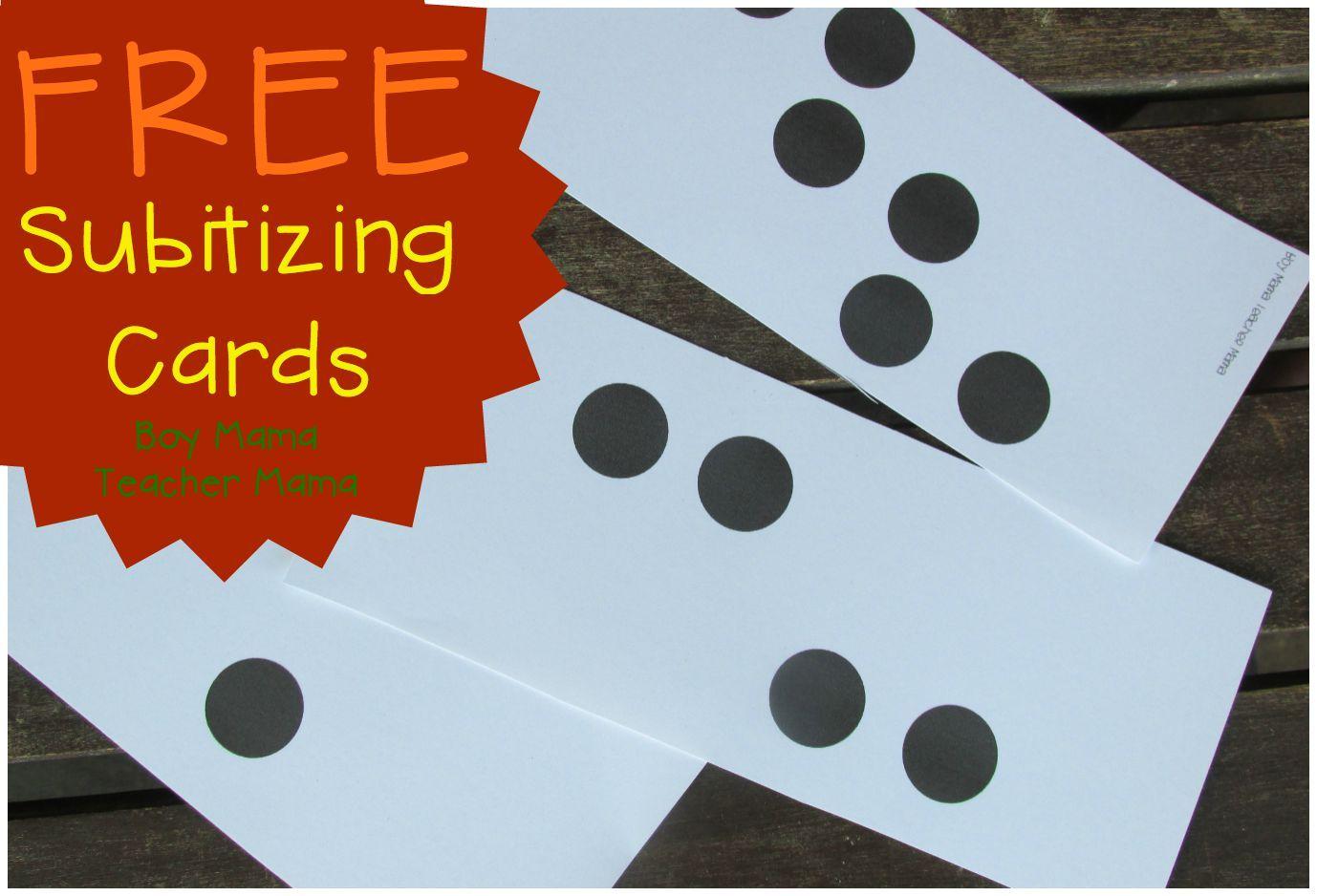 Teacher Mama: FREE Subitizing Dot Cards {After School