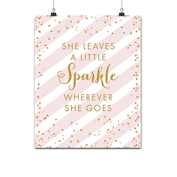 photo about She Leaves a Little Sparkle Wherever She Goes Free Printable named Absolutely free Printable Boy or girl Nursery Signal 8x10 - Blush Purple Gold