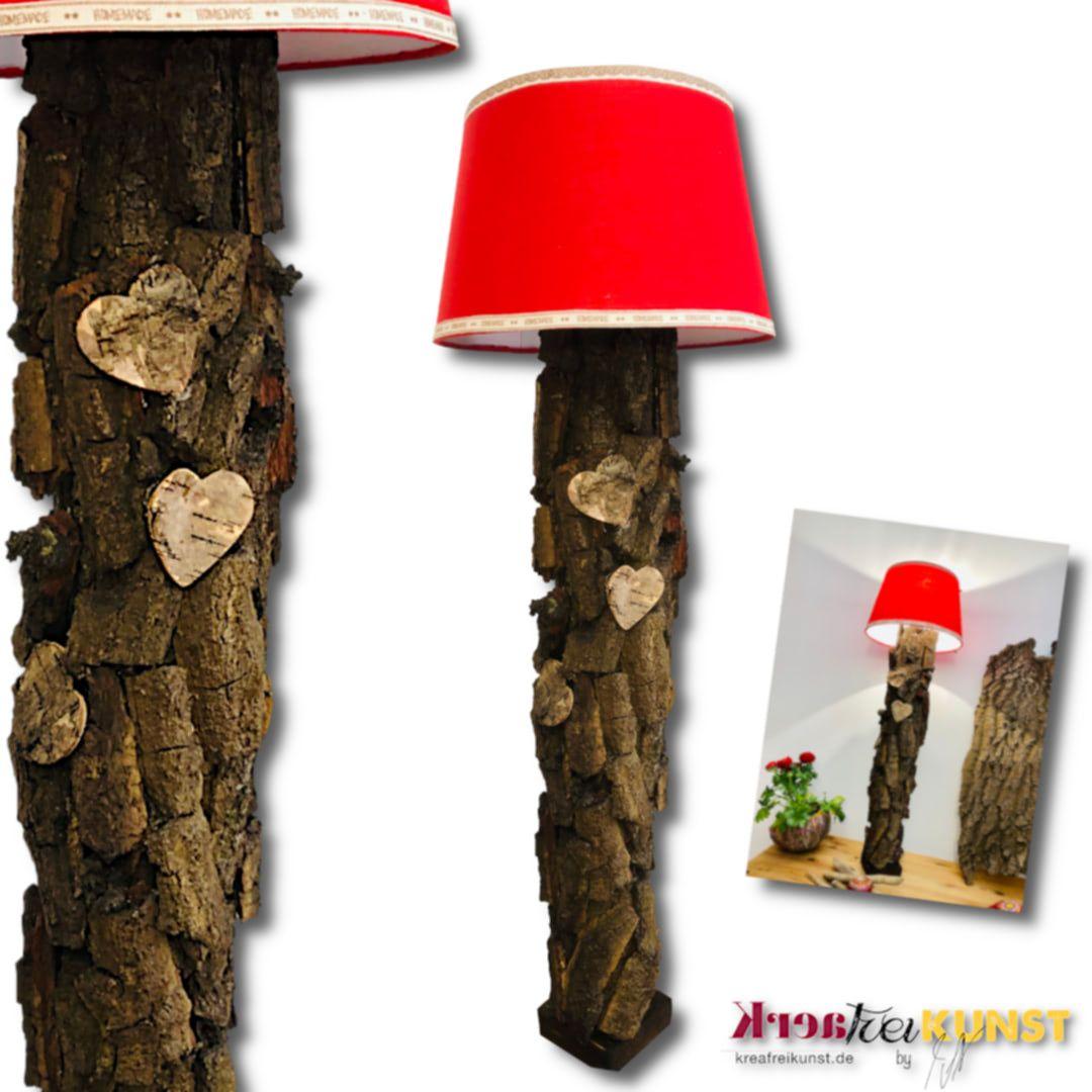 Kreafreikunst Einrichtungsideen Authentische Und Nachhaltige Mobel Lampen Dekorative Inneneinrichtung Kreativ Nac In 2020 Lampe Baumrinde Roter Lampenschirm