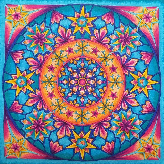When I'm not doing what I'm supposed to be doing, I'm doing this. I'm calling it the kaleidosnowflake.  #johannaschristmas #color #coloringbook #conte #markers #procrastination #pleasedontmakemeaccomplishthings