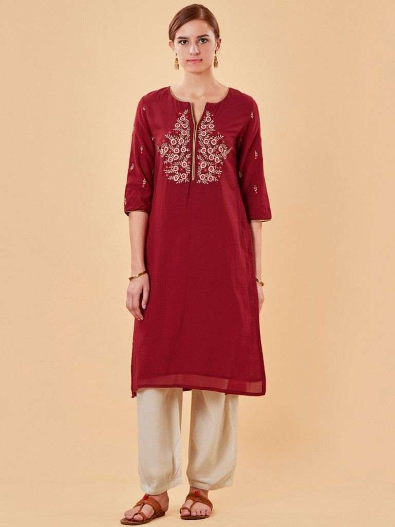 Red Embroidered Cotton Silk Kurta with Off white Pants - Set of 2 ... 8dca630a09