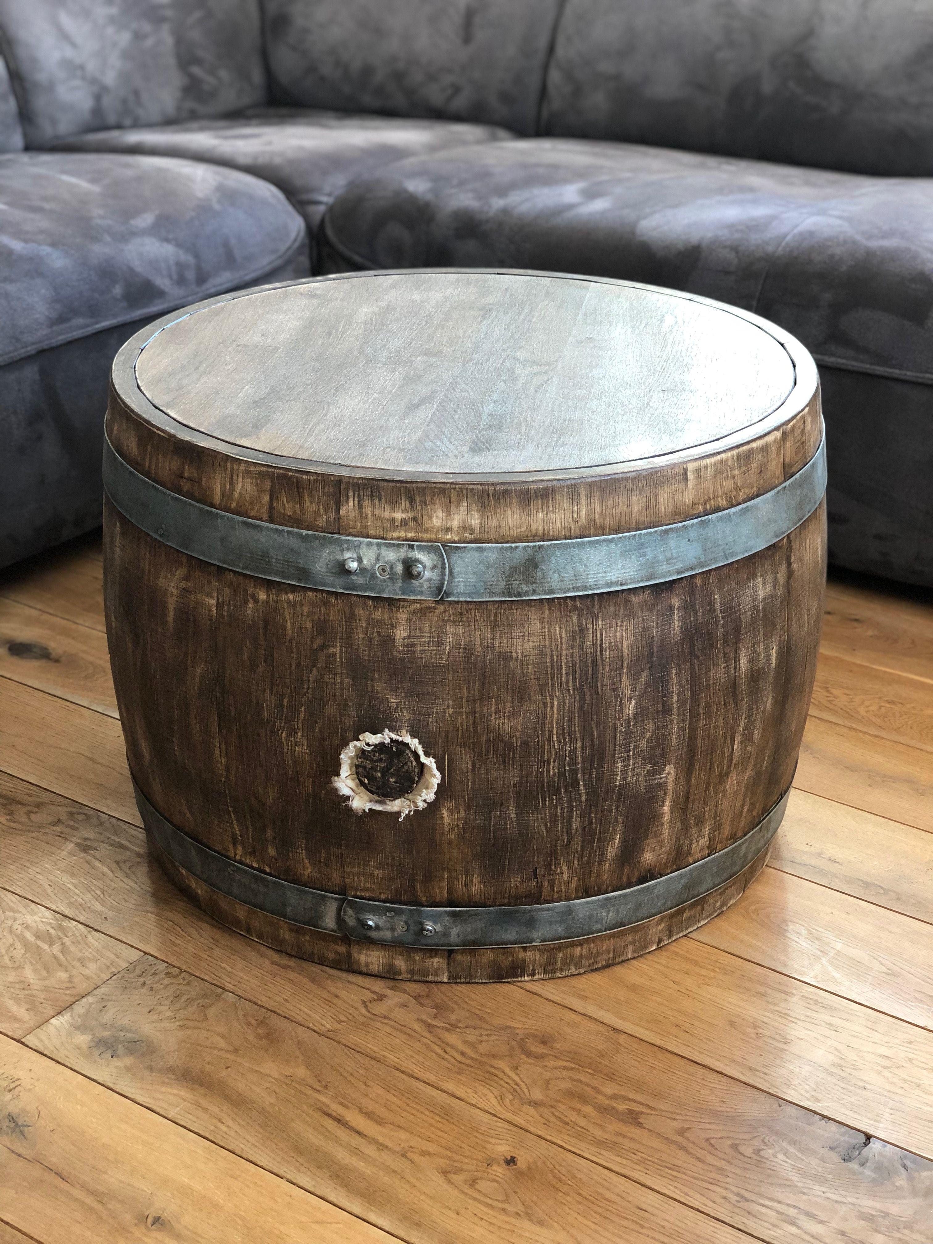 Bauchiger Weinfass Couchtisch Mit Holzplatte Whiskyfass Optik