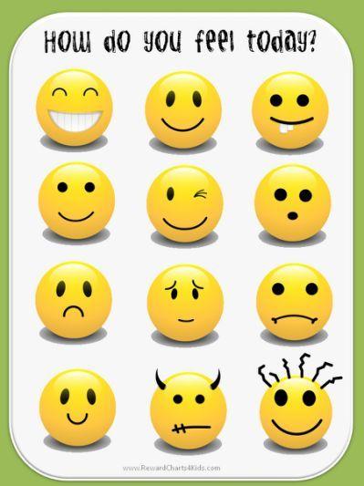Smiley Face Emotion Chart feelings | εκπαίδευση | Pinterest