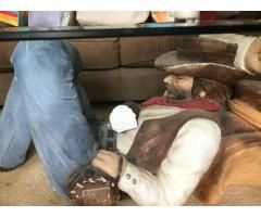 Attractive Used Sleeping Cowboy Coffee Table For Sale