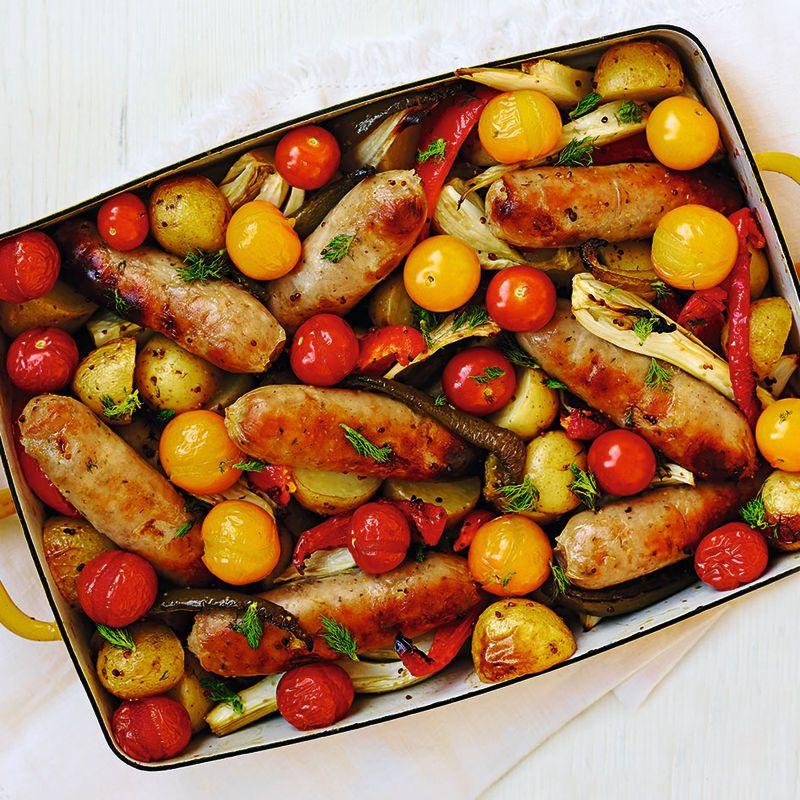 Summer Sausage Traybake Recipes Healthy Recipes Sausage Recipes