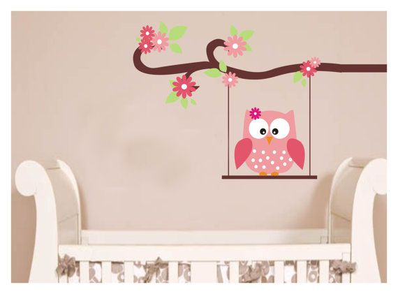 owl wall mural baby | Owl tree wall stickers Vinyl decal Owl baby ...