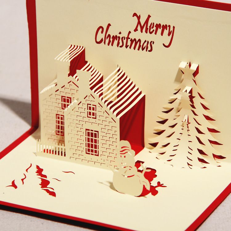 3d greeting card castle in winter handmade paper craft 3d pop up christmas card greeting card with envelope 5999 - 3d Greeting Cards