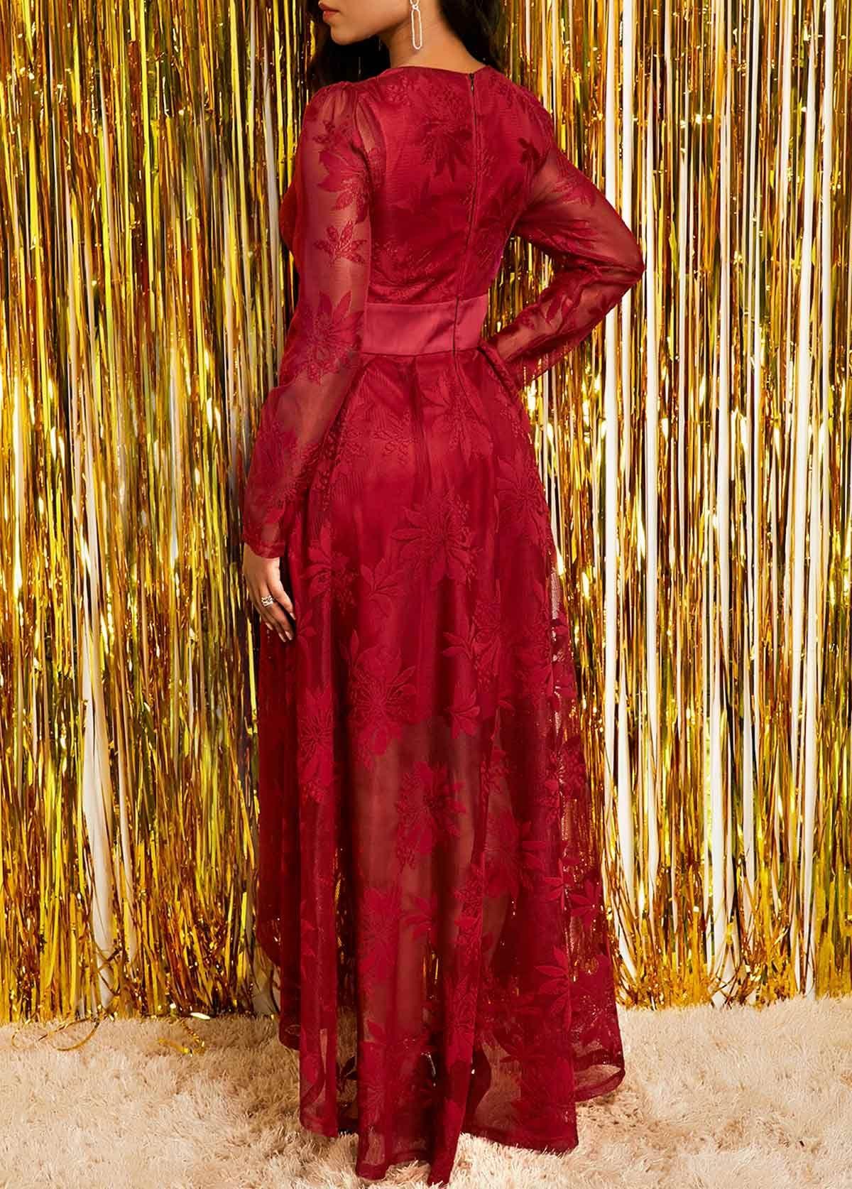 Band Waist Long Sleeve Wine Red Lace Dress Rotita Com Usd 32 52 Vestidos Azules Vestidos Largos Ropa De Oficina