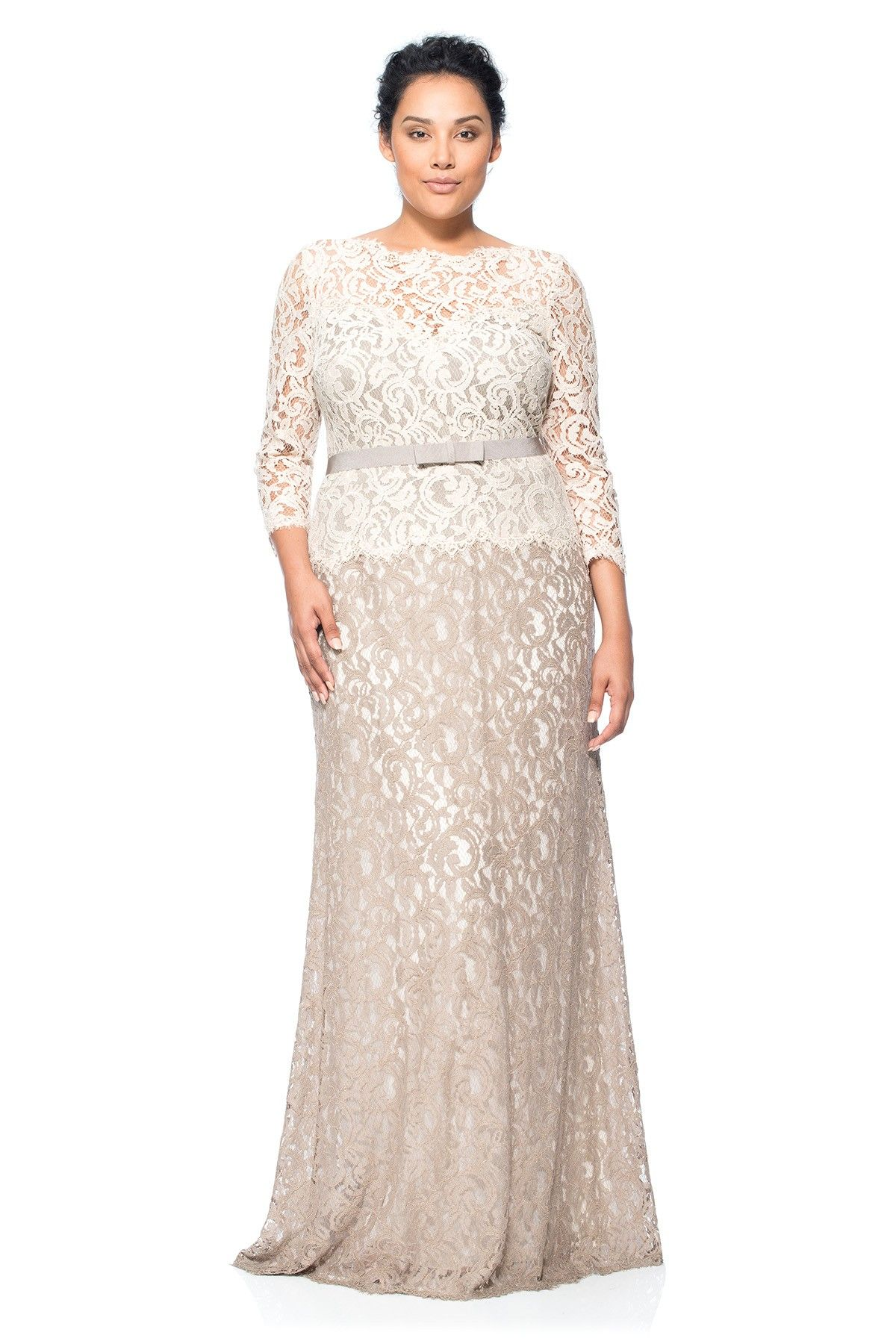 Lace Boatneck 3 4 Sleeve Gown With Grosgrain Ribbon Belt