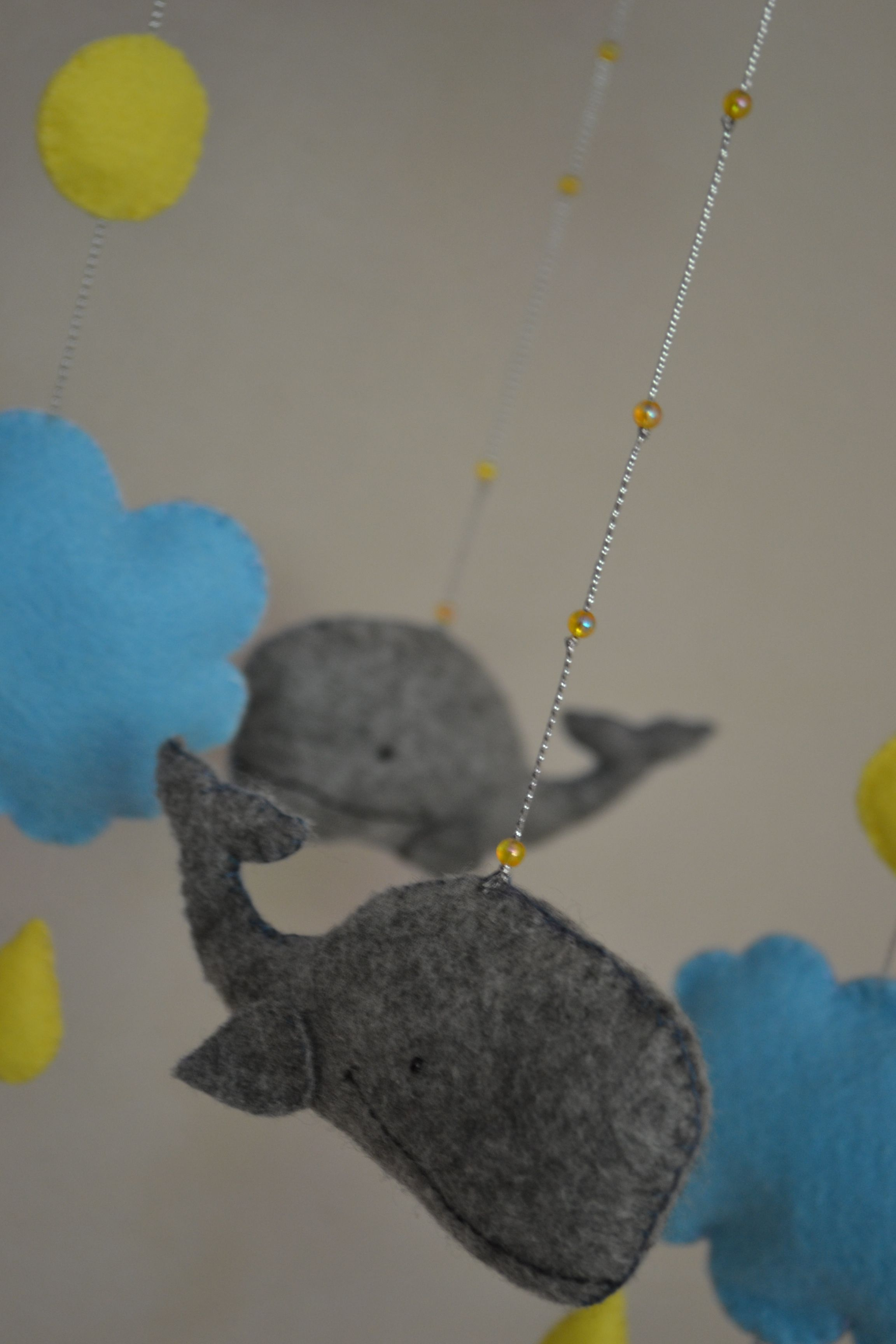 Felt Kids Mobile Grey Whales Blue Clouds Cute Sweet Yellow Circles