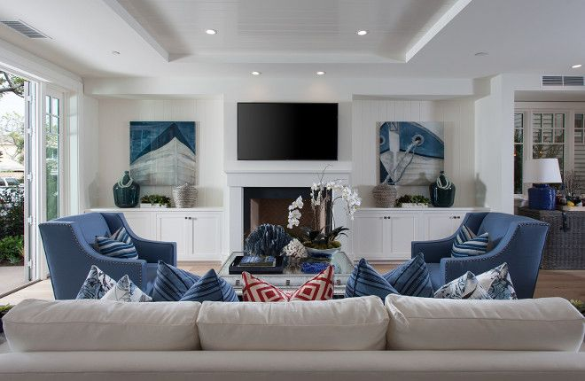Crisp White Living Room With Blue Accessories And Built Ins Flanking Fireplace Brandon Arch Hamptons Style Living Room Hamptons Living Room Family Room Design