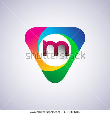 logo M letter, colorful icon in the triangle shape, Vector design template…