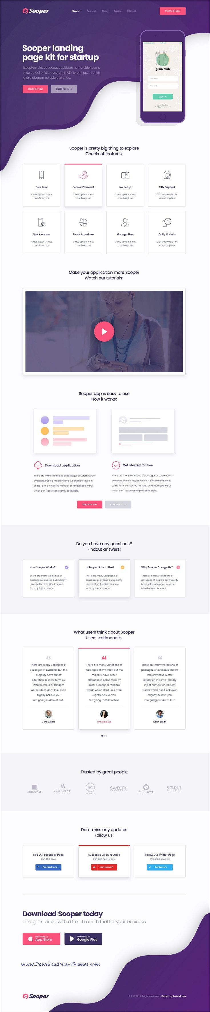 Sooper is clean and modern design psd template for creative mobile app software webapp showcase landing page website with layered ps  also rh pinterest