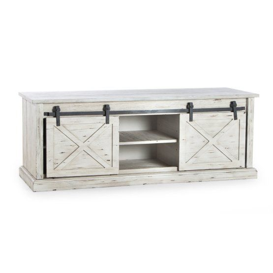 Belham Living Sawyer Barn Door Storage Bench is part of Playroom Organization Bench - Dimensions 48L x 18D x 18H in   Rubber wood, engineered wood, and pine veneer construction  Smooth gliding barn doors  Black metal track  Weathered offwhite and gray finish  Cubby storage with shelf  Harness the trendy, upcycled look with our Belham Living Sawyer Barn Door Storage Bench  Two gliding barnstyle doors make this piece stand out from the crowd  Each door slides aside on a black metal track to reveal ample storage space where you can stash pillows, blankets, and more  The open