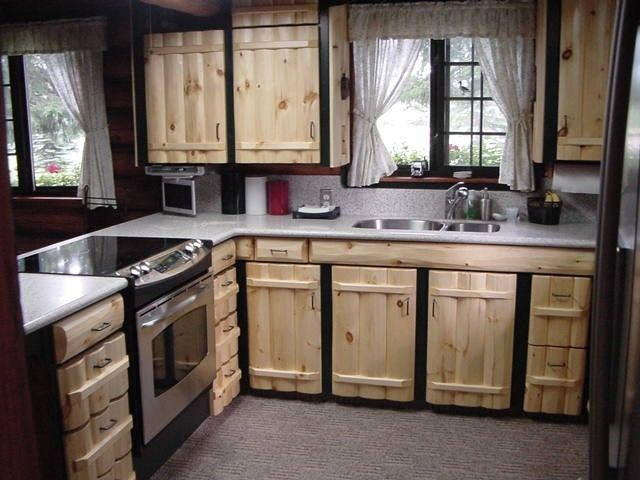 Custom Made Rustic Pine Log Kitchen Cabinetry   Pallet ...