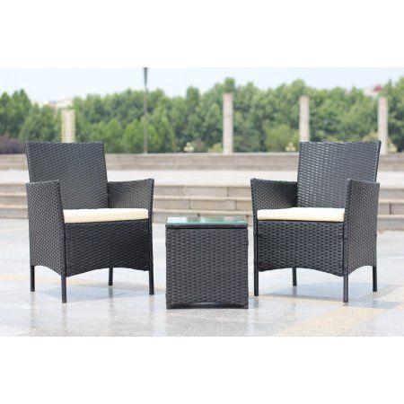 3-Piece Compact Outdoor/Indoor Garden Patio Furniture Set Black PE Rattan  Wicker Seat - 3-Piece Compact Outdoor/Indoor Garden Patio Furniture Set Black PE